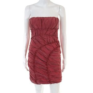 BCBGMAXAZRIA Medium Pink Ruched Sheath Dress
